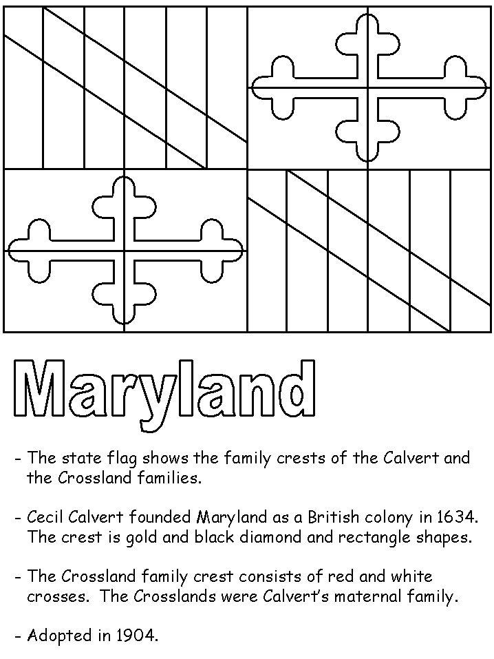 MD Flag Coloring Sheet for Kindergarten United States