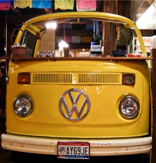 Luisa's in Geneva Ohio;  Great Mexican food, cute ambience complete with authentic VW bus walling off the grill.
