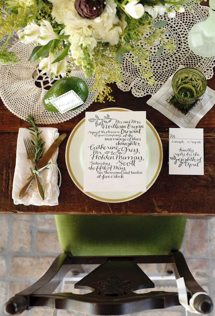 LOVE the calligraphy style on this wedding invitation by BellaFigura. Photo by starfishstudiosfl