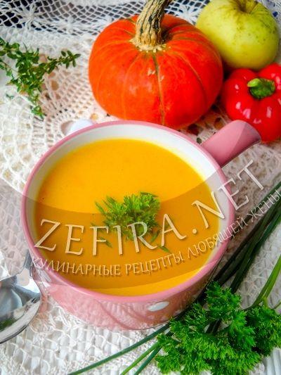 Овощной суп-пюре из тыквы и кабачка с яблоком - рецепт и фото