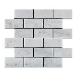 "Tiles R Us - Carrara White Marble Polished 2X4 Subway Brick Mosaic Tile, 1 Sq. Ft. - - Italian Carrara White Marble 2"" X 4"" Polished (Shiny Finish) Subway Brick Mosaic Tile"