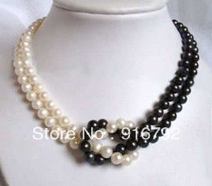 free shipping *******Classic Fashion 7-8mm white natural freshwater pearls jade necklace