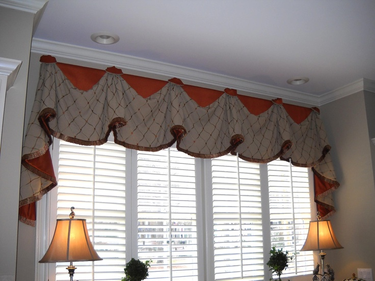 Window Treatments Rio With Long Jabots Tan Embroidered