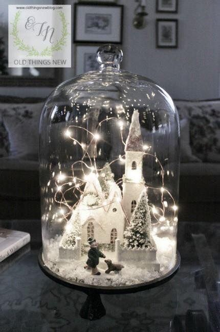 Christmas decor & tiny lights under cloche (Christmas Time Lights)