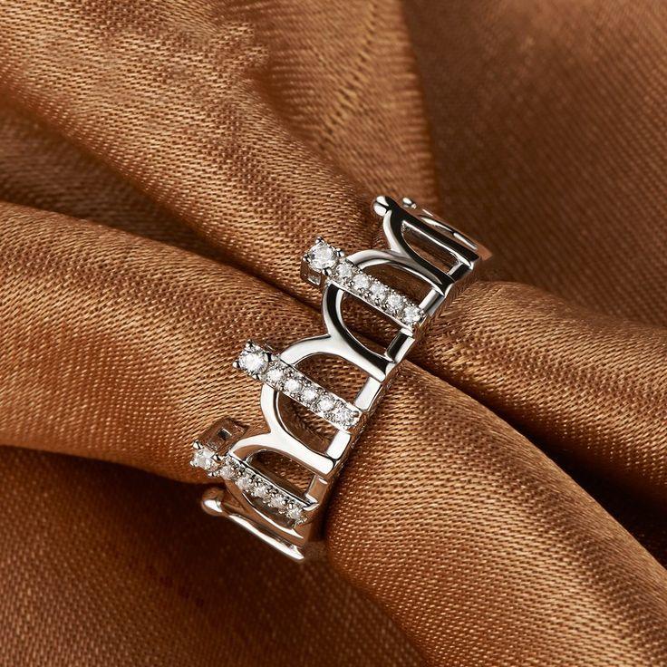 Retro Crown 925 Silver Plated Platinum Fashion Ring