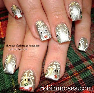 180 best christmas nail art pictures with tutorials images on christmas nail art reindeer on chrome robin moses nail art prinsesfo Choice Image