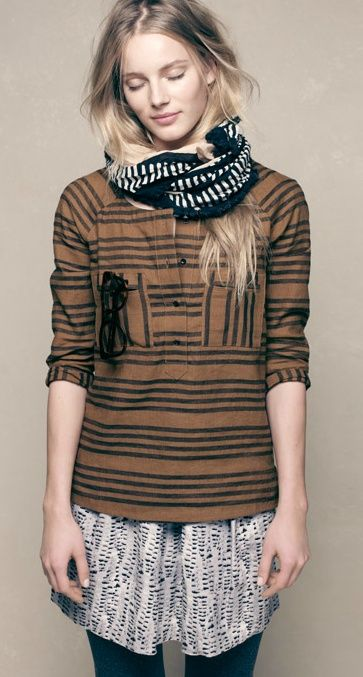 Madewell - Stucco Stripe Top worn with Cloudtrail Kickpleat Skirt and Farflung Stripes Scarf - Stylebook Spring 2012