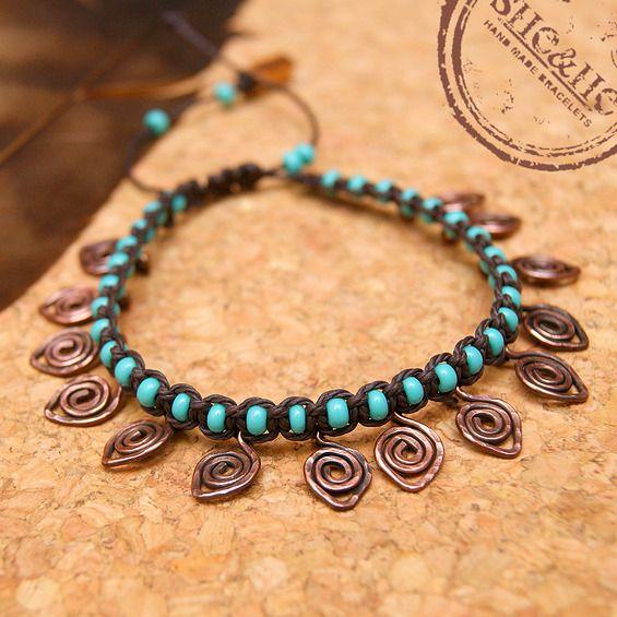 Boho  macrame bracelet, boho style, macrame, wire wrapped, wire wrapping