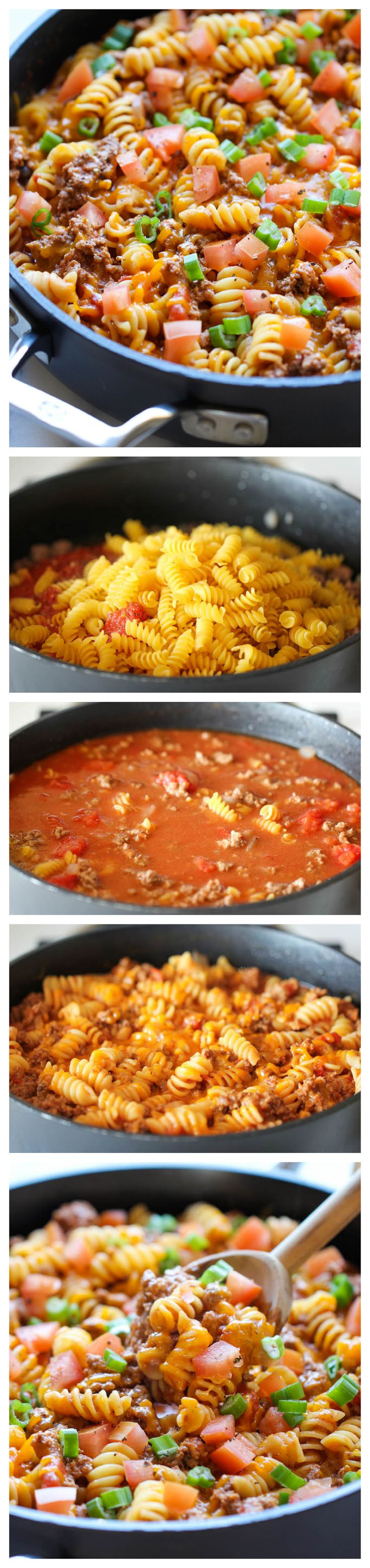 One Pot Cheeseburger Casserole - This cheesy goodness comes together so easily in one skillet. Even the pasta gets cooked right in the pan!