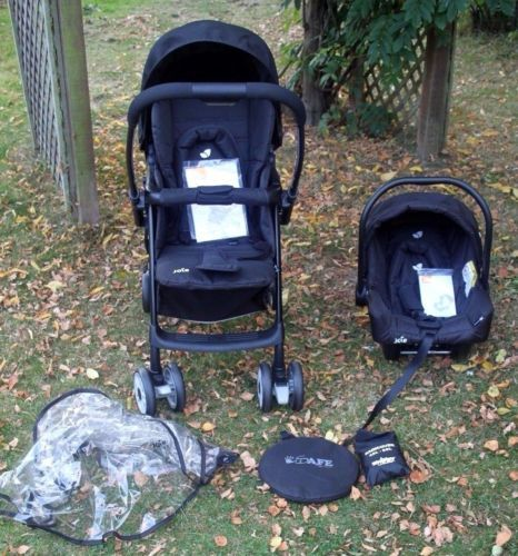 Joie-Mirus-Travel-System-in-Black-Ink-Pushchair-Joie-Juva-New-Born-Car-Seat