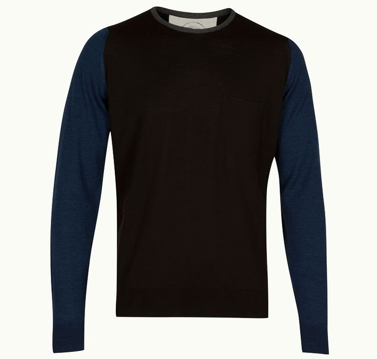 Contrast Pullover In Espresso John Smedley X Universal Works- the best of luxury British menswear.