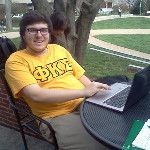 Adam enjoys the great weather outside Hoover Library at Red Square at McDaniel http://twitpic.com/ck1zoj Ya know, it actually turned-out to be a great picture of Adam... Just saying...