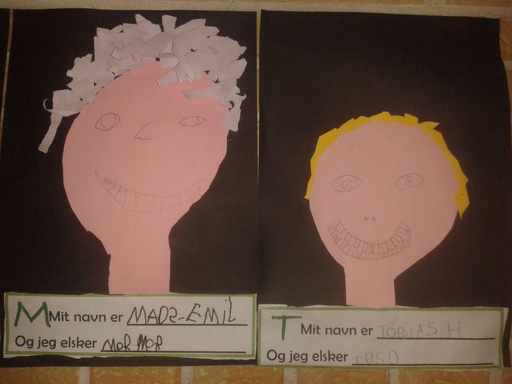 Selvportræt med rivepapir-hår 1.klasse + navneskilt med fokus på bogstaver