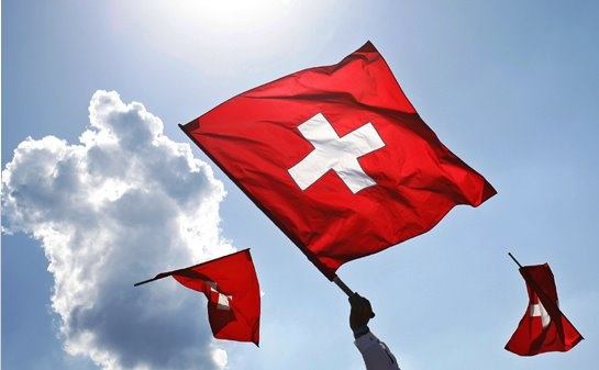 Swiss tradition of flag throwing