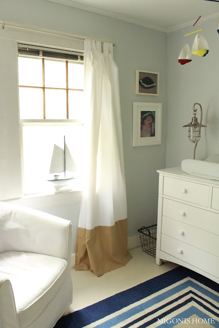 diy make a curtain longer by color blocking at the bottom