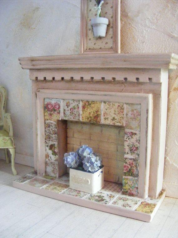 miniatures dollhouse furniture. miniature shabby chic fire surround miniatures dollhouse furniture d