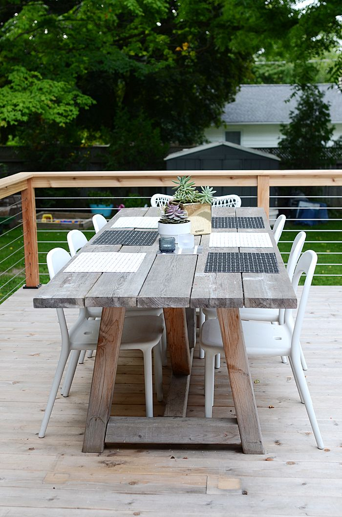 White Wash Timber Outdoor Table   But Needs More Comfortable Seats