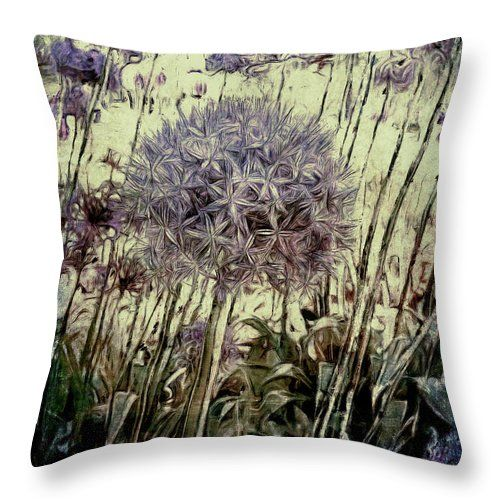 "Allium Giganteum Throw Pillow by Leslie Montgomery.  Our throw pillows are made from 100% spun polyester poplin fabric and add a stylish statement to any room.  Pillows are available in sizes from 14"" x 14"" up to 26"" x 26"".  Each pillow is printed on both sides (same image) and includes a concealed zipper and removable insert (if selected) for easy cleaning."
