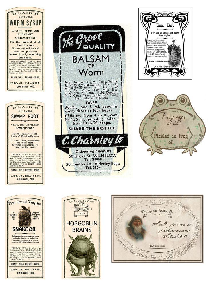 vintage style potion labels by Pureblackmagik.deviantart.com on @deviantART
