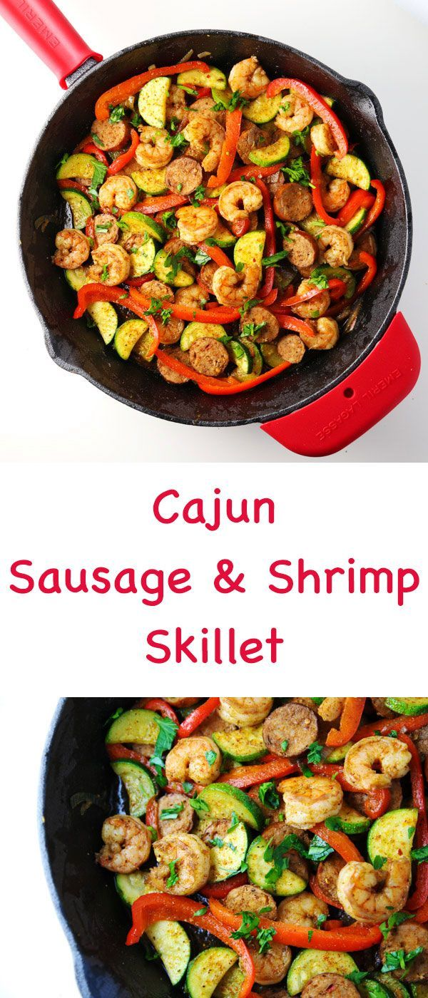 This Cajun Sausage and Shrimp Skillet meal is bursting with so much flavor! This easy meal comes together in 20 minutes using only 1 skillet!