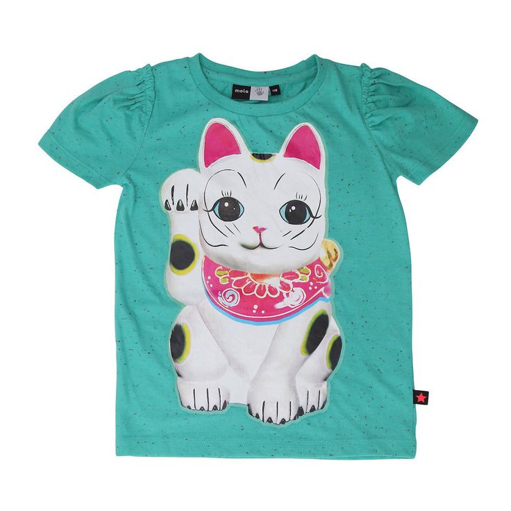 Molo Roxy Luck Cat T-shirt in Shamrock Green Melange