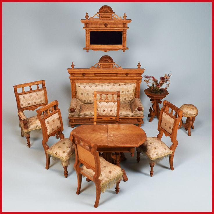 Handsome antique German dollhouse oak ten piece
