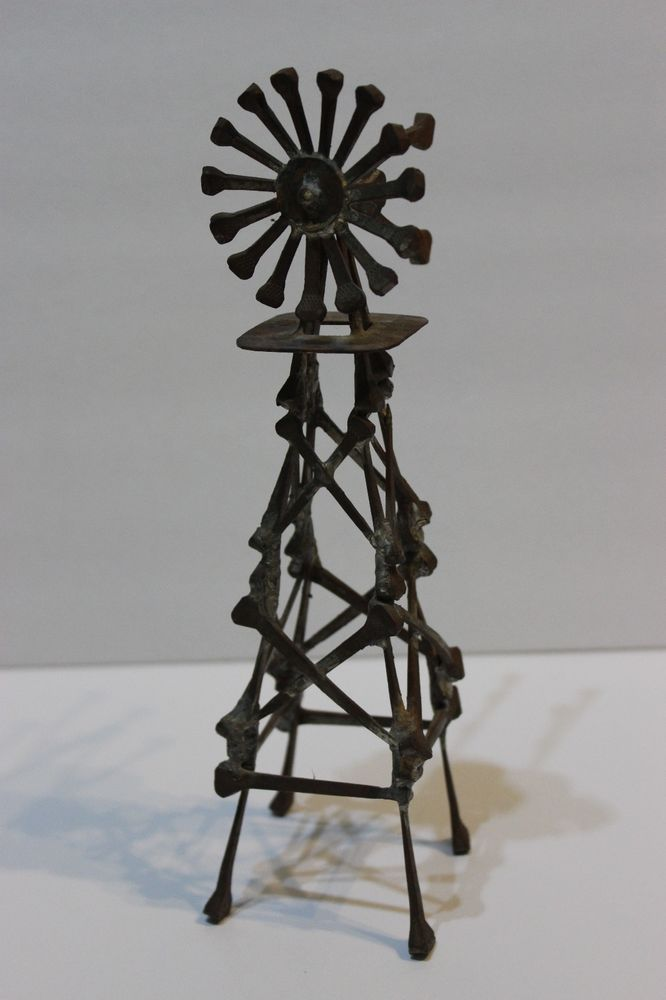Rustic Metal Horseshoe Nails Windmill Folk Art Sculpture Figurine