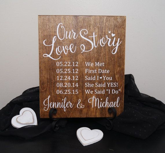 Our Love Story Personalized Wedding Sign by CraftyWitchesDecor
