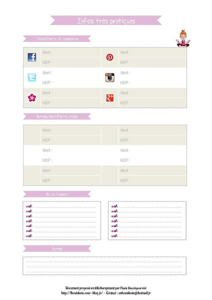 Fiche PDF pour le carnet blog organisé, la fiche des informations pratiques avec surtout, les identifiants de connexion...