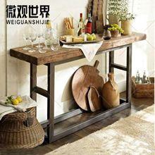 Американский кантри , чтобы сделать старый ретро стиле лофт дерево консоли стол стол, Из кованого железа журнальный столик вестибюль(China (Mainland))
