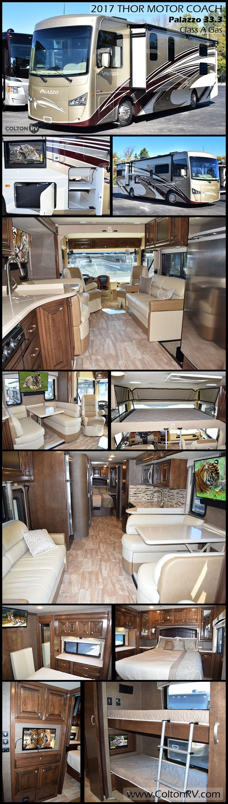 Every inch of space inside and out of this 2017 thor motor coach palazzo bunkhouse class a diesel motorhome is designed to make life on the road more