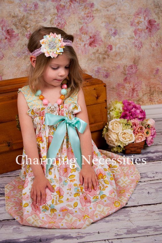 Size 6 Ready To Ship Girls Dress, Spring Ruffled Sun Dress in Darling by Charming Necessities Toddler Boutique Clothing Easter on Etsy, $37.00