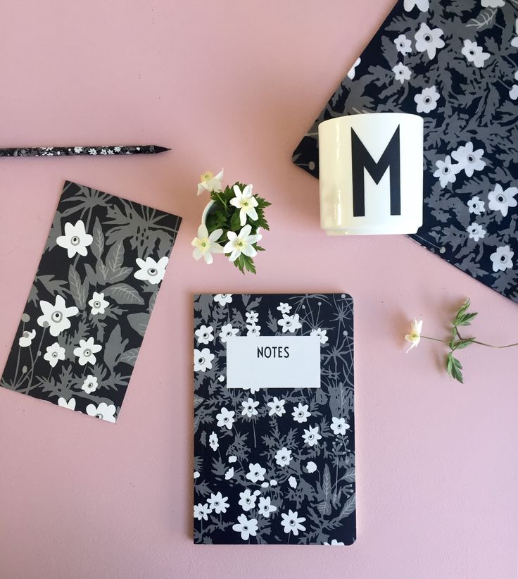 M for Mom. And Flowers for mum - real flowers and Flowers by AJ stationery. Card, notebook and pencil.