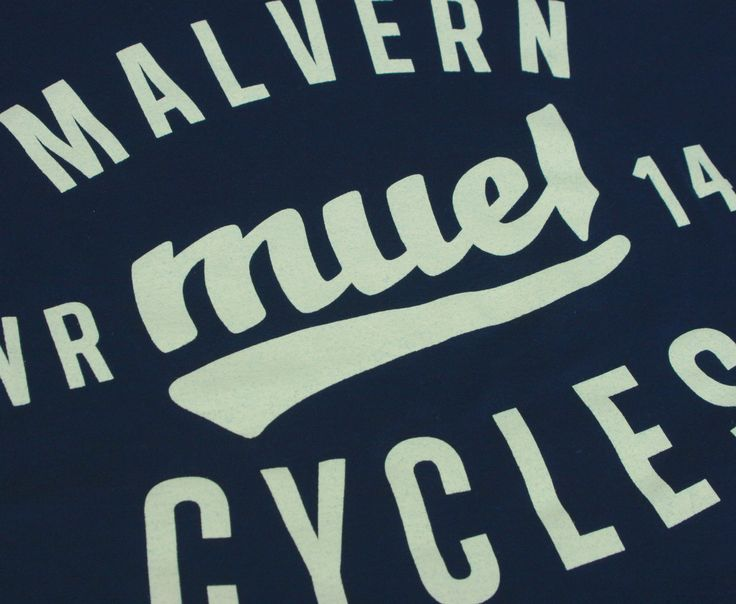 Hand drawn vintage type close up for Malvern Cycles shop uniform