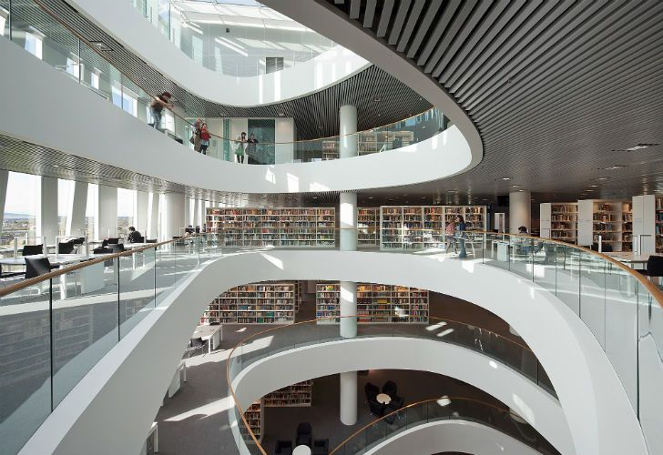 Sculptural atrium balconies and library areas at Aberdeen University Library