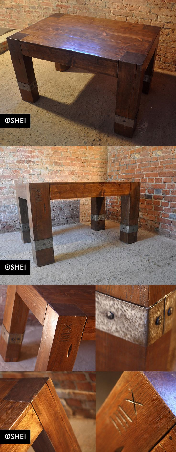 Massive OSHEI table made of solid pine wood, obtained from the restored house built in the years 1820-1830 in Leszno (Greater Poland). The wood was supplemented with hand forged clamps, finished with forged nails. The table fits perfectly as a dining or kitchen It is a unique model. ON THE LEG OF THE UNIT WAS PRESERVED  ORIGINAL NINETEENTH CENTURY CARPENTER'S MARKING (DIGIT XIIII - fourteen) #oldwood