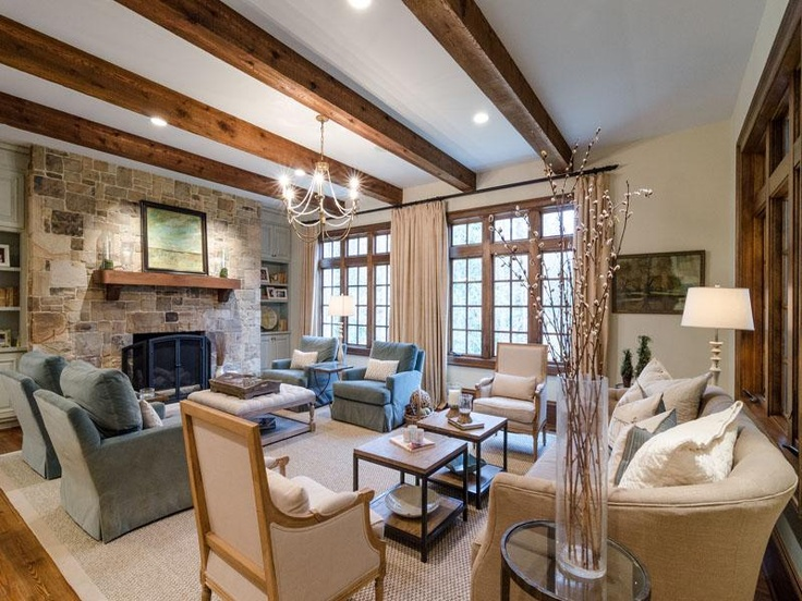 Neutral Living With Stone Fireplace, Rustic Beam Ceiline And Blue Velvet  Arm Chairs In Buckhead Atlanta Georgia Part 91