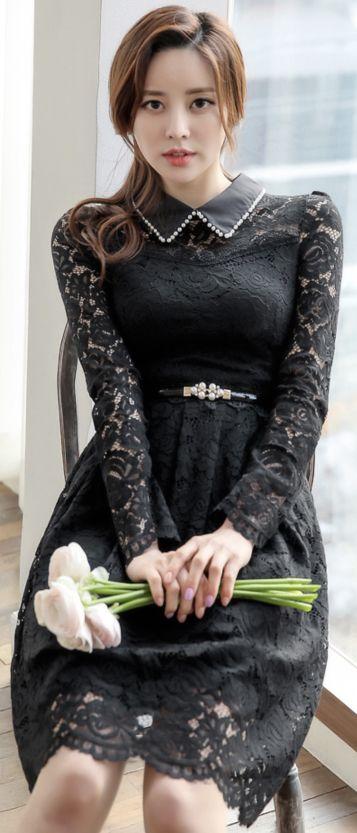 StyleOnme_Pearl Accent Collared Floral Lace Dress #black #lace #floral #dress #feminine #koreanfashion #kstyle #kfashion #springtrend #datelook