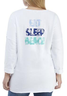 Plus Size Scoop Neck Beach Sweatshirt