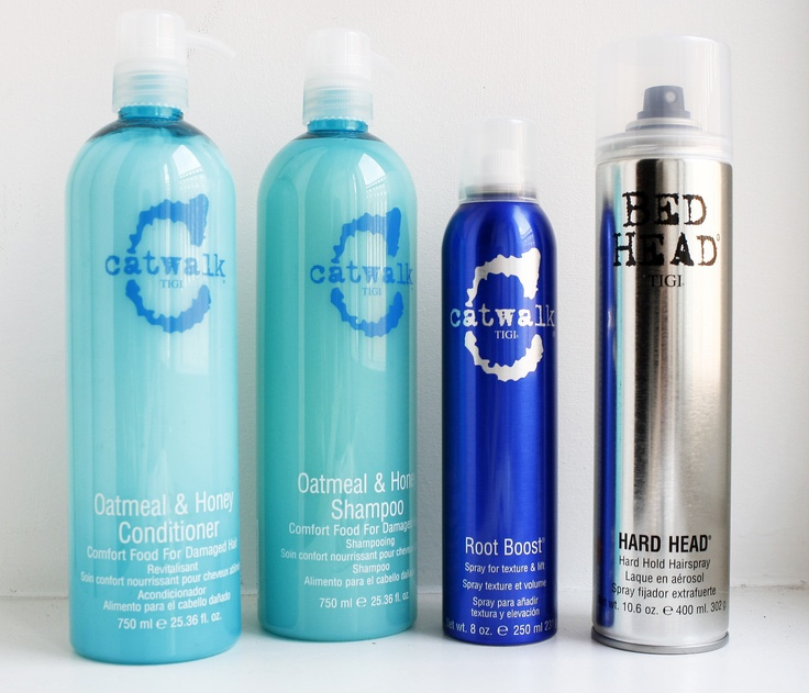 Catwalk hair products by TIGI. I LOVE this line! The Oatmeal & Honey Shampoo and Conditioner work great for dry or damaged hair!