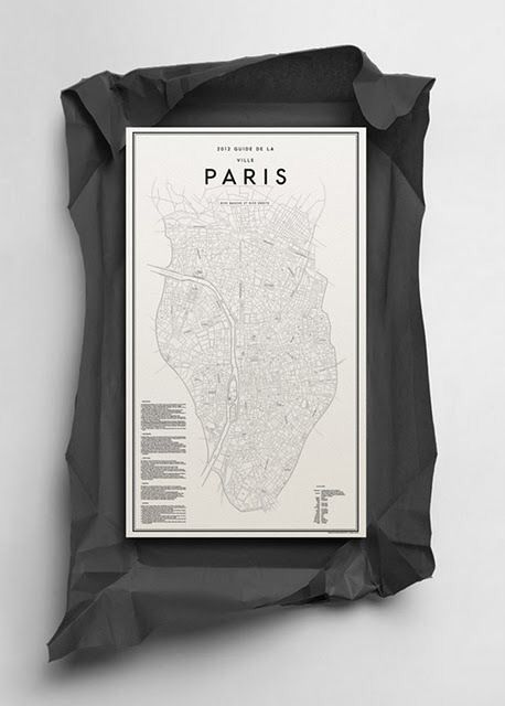 black and white map of Paris.