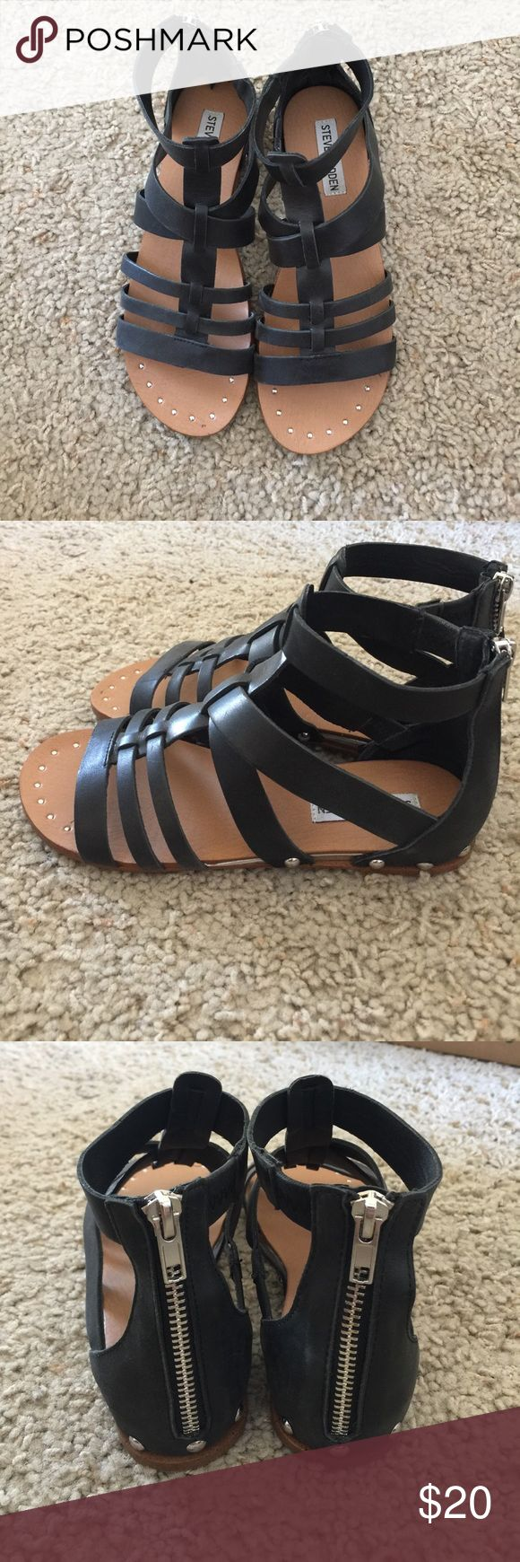 ✨ Steve Madden black gladiator sandals ✨ Strappy gladiator sandals by Steve Madden with silver zippers in the. Ack and silver stud detailing. The bottoms of the sandals are a bit dirty but these have only been worn a handful of times since I got them last summer! Steve Madden Shoes Sandals