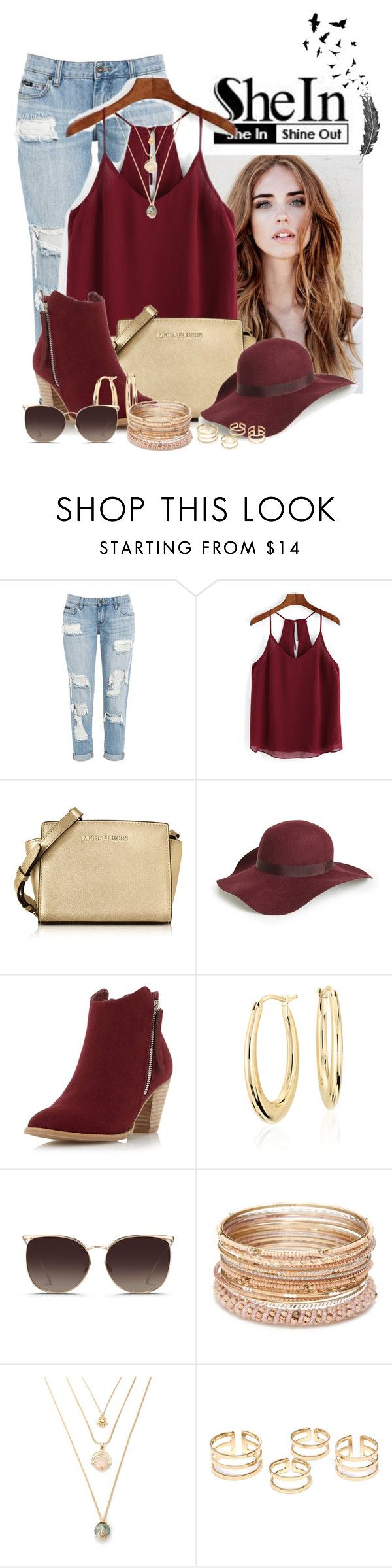 """""""Chiffon Cami Top - SheIn"""" by natsucool ❤ liked on Polyvore featuring Michael Kors, Topshop, Dorothy Perkins, Blue Nile, Linda Farrow and Red Camel"""