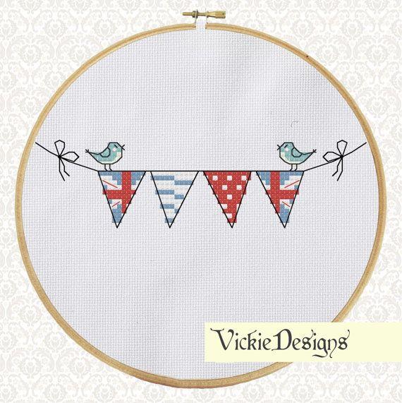 British Bunting Birds Cute Cross Stitch Pattern PDF