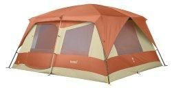Eureka Copper Canyon 12 Person Tent                                 The Eureka Copper Canyon 12 is a 2 room, Cabin style, straight walled  family tent that will sleep 12 people. 2 large 'D' Style doors simplify  exit or entry. 6 large windows an