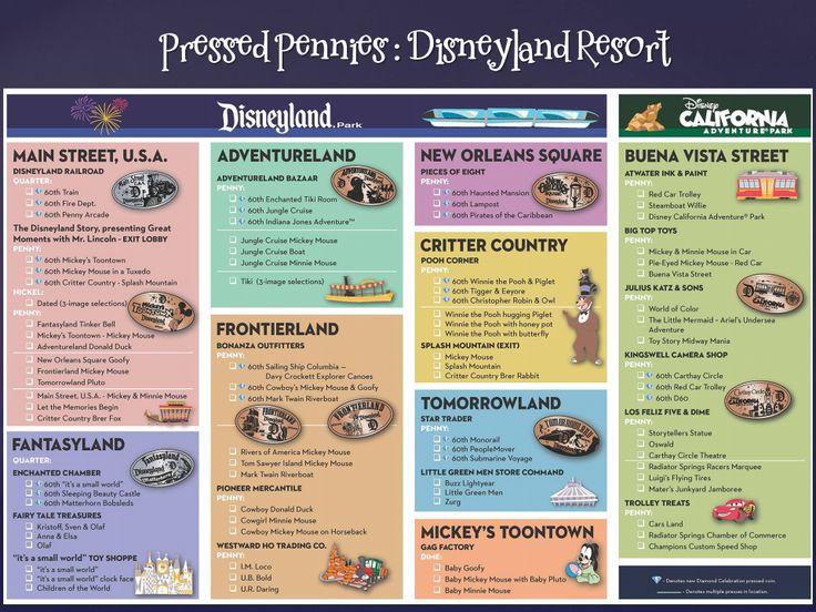 Pressed Penny Machines Located in Disneyland Park and California Adventure