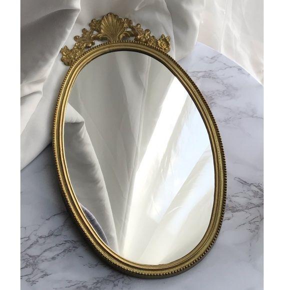 Vtg Brass Oval Shell Hanging Mirror, Vintage Brass Mirror Wall Hanging