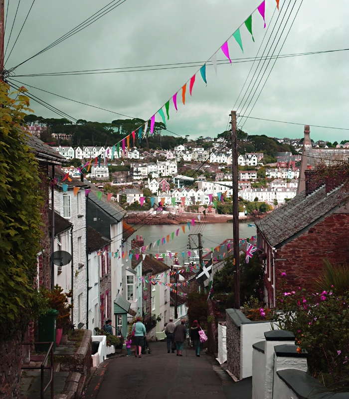 colorful decorations in Polruan, the fishing village on Fowey river estruary