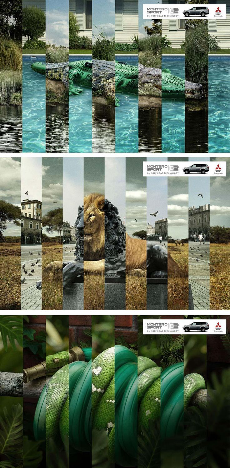 Instead of using a single split screen, the Mitsubishi ads use this back-and-forth technique to: 1) make the images merge 2) illustrate the ease and frequency in which you can take your Mitsubishi on, off, on, and off road again.