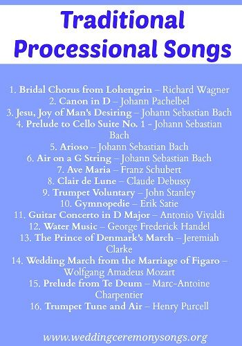 Traditional Wedding Processional Songs. #weddingmusic